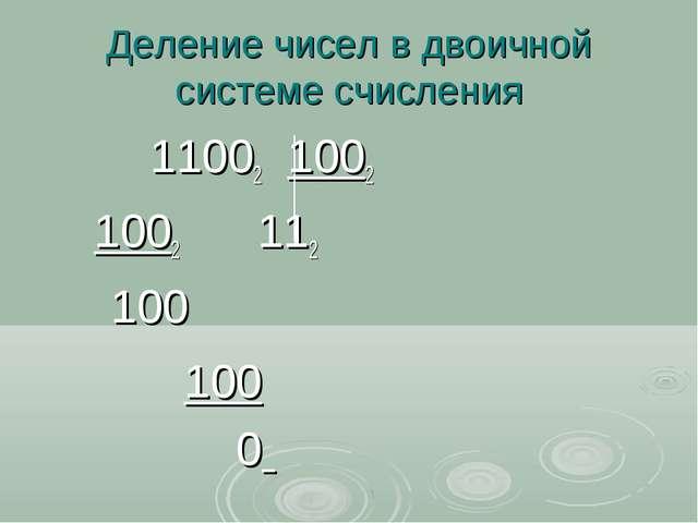 Деление чисел в двоичной системе счисления 11002 1002 1002 112 100 100 0