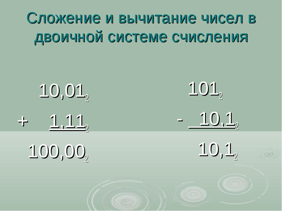 Сложение и вычитание чисел в двоичной системе счисления 10,012 + 1,112 100,00...