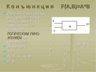 К о н ъ ю н к ц и я F(A,B)=A*B Соединение двух простых высказыва-ний А и В в
