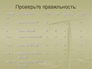 Проверьте правильность: Форму-лавысказываниетигрволкбурундукзаяц АЗверь