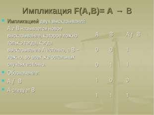 Импликация F(A,B)= A → B Импликацией двух высказываний А и В называется новое