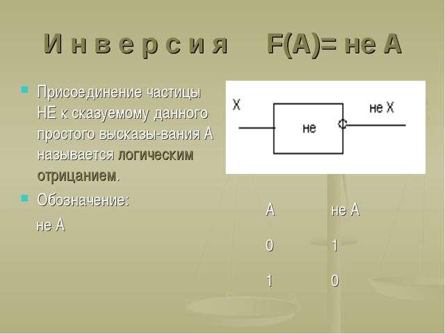 И н в е р с и я F(A)= не A Присоединение частицы НЕ к сказуемому данного прос...