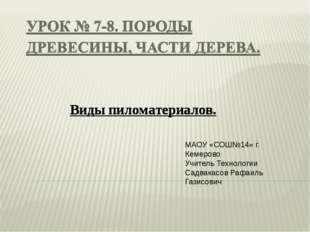 МАОУ «СОШ№14» г. Кемерово Учитель Технологии Садвакасов Рафаиль Газисович Вид