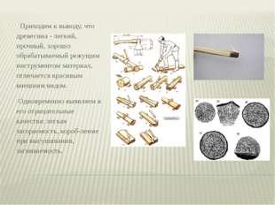 Приходим к выводу, что древесина - легкий, прочный, хорошо обрабатываемый ре