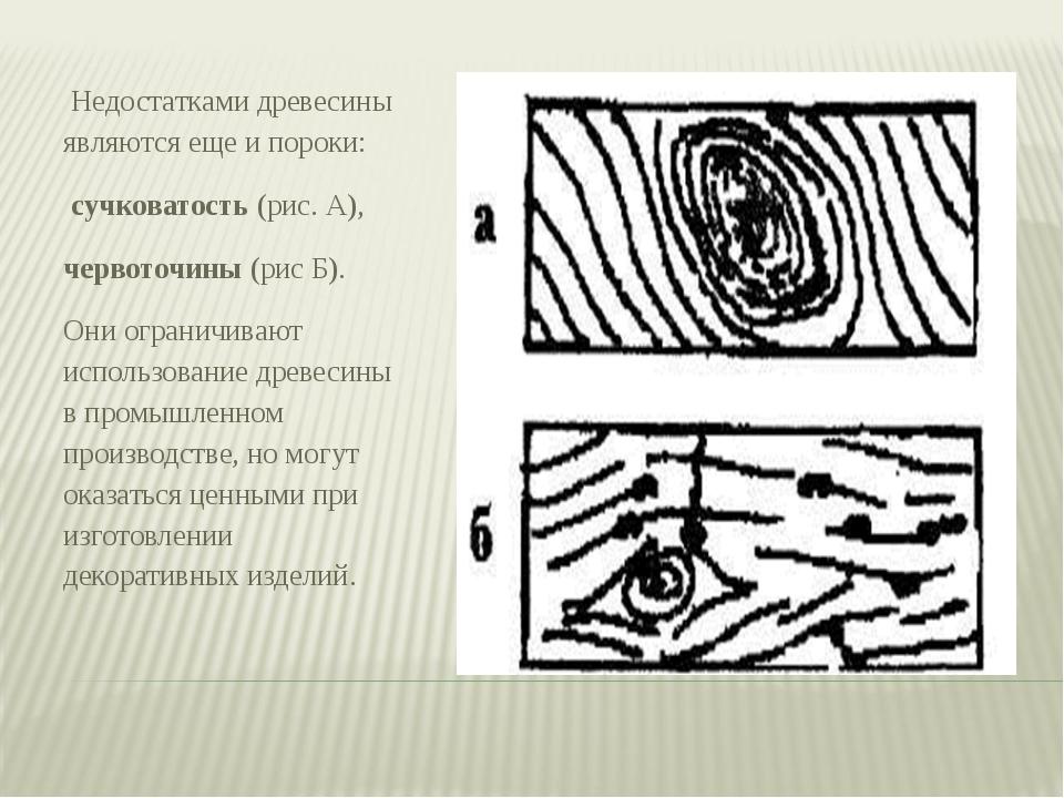 Недостатками древесины являются еще и пороки: сучковатость (рис. А), червото...