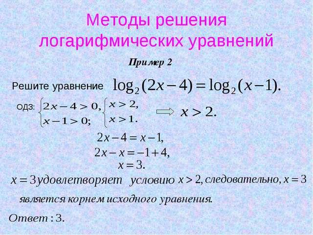 Методы решения логарифмических уравнений Пример 2 Решите уравнение ОДЗ: являе...