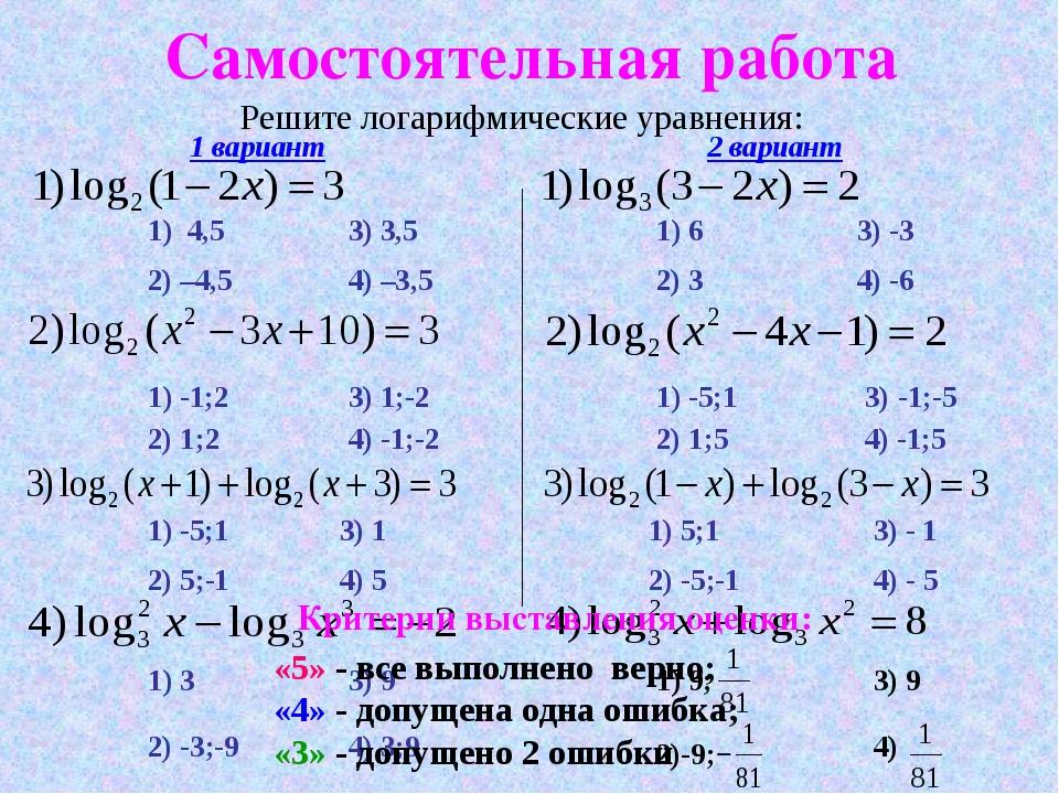 Самостоятельная работа Решите логарифмические уравнения: 2) 1;2 3) 1;-2 1) -1...