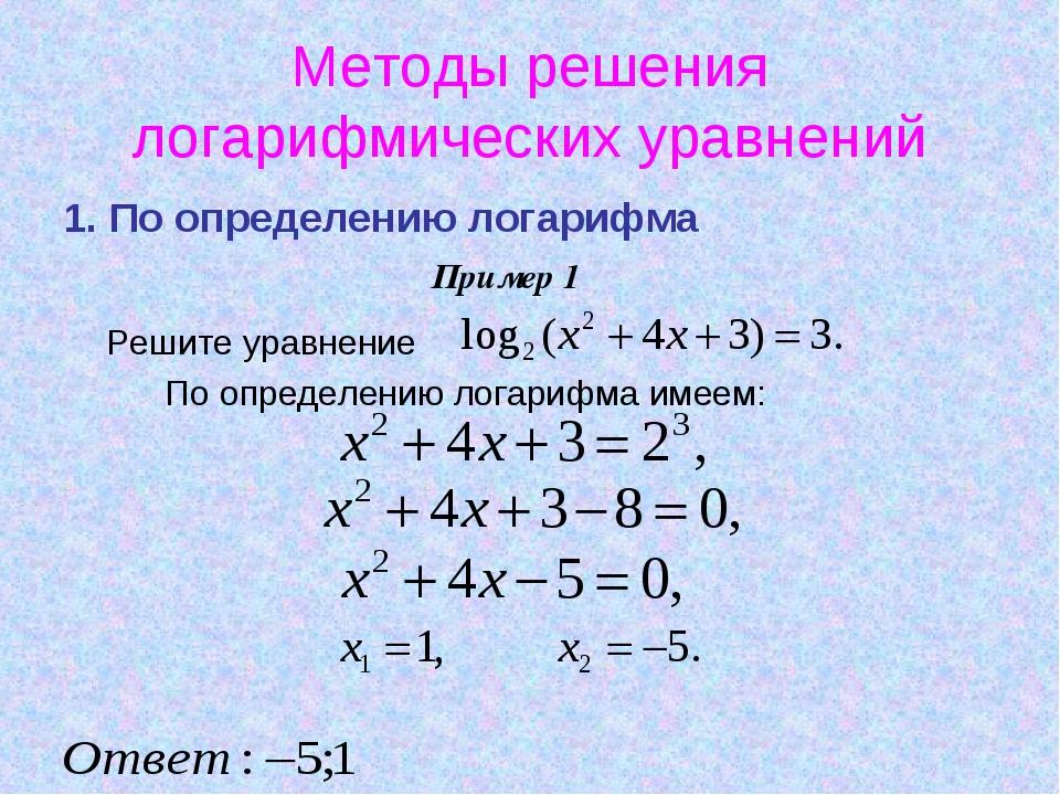 Методы решения логарифмических уравнений 1. По определению логарифма Решите у...