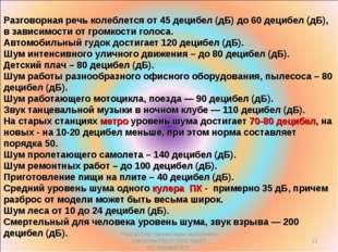 Разговорная речь колеблется от 45 децибел (дБ) до 60 децибел (дБ), в зависимо
