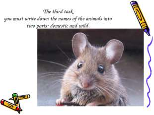 The third task you must write down the names of the animals into two parts: d