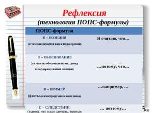Рефлексия (технология ПОПС-формулы) ПОПС-формула П – ПОЗИЦИЯ (в чем заключ