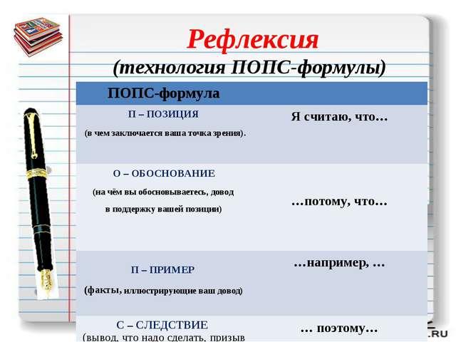 Рефлексия (технология ПОПС-формулы) ПОПС-формула П – ПОЗИЦИЯ (в чем заключ...