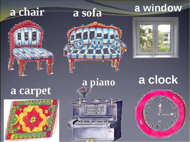 a chair a sofa a window a carpet a piano a clock