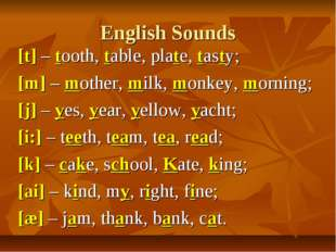 English Sounds [t] – tooth, table, plate, tasty; [m] – mother, milk, monkey,