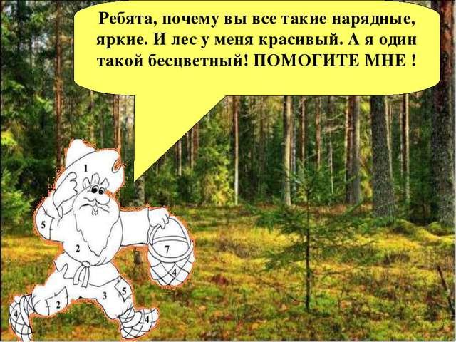 Ребята, почему вы все такие нарядные, яркие. И лес у меня красивый. А я один...
