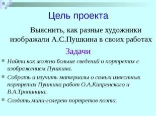 Цель проекта Выяснить, как разные художники изображали А.С.Пушкина в своих