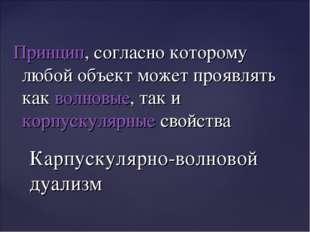 Принцип, согласно которому любой объект может проявлять какволновые, так ик