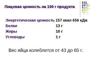 Пищевая ценность на 100г продукта Энергетическая ценность 157ккал 656кДж Б