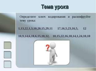 Тема урока Определите ключ кодирования и расшифруйте тему урока: 1,13,22,1,3,