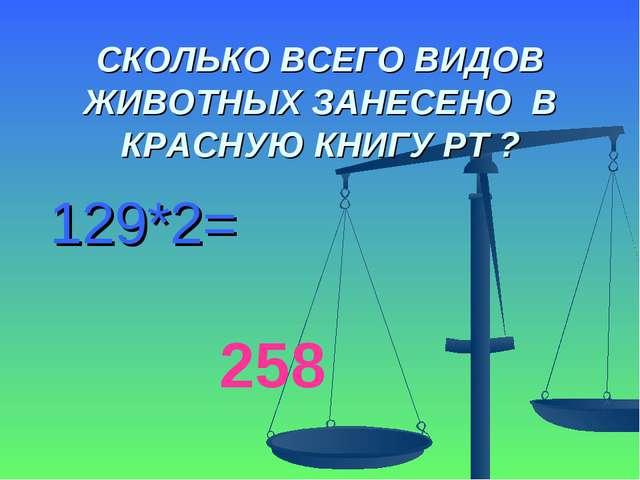 СКОЛЬКО ВСЕГО ВИДОВ ЖИВОТНЫХ ЗАНЕСЕНО В КРАСНУЮ КНИГУ РТ ? 129*2= 258