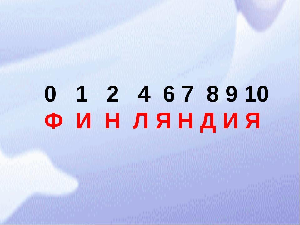 0 1 2 4 6 7 8 9 10 Ф И Н Л Я Н Д И Я