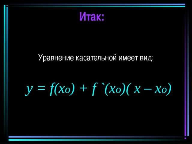Итак: Уравнение касательной имеет вид: y = f(xo) + f `(xo)( x – xo)