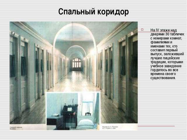 Спальный коридор На IV этаже над дверями 30 табличек с номерами комнат, фамил...