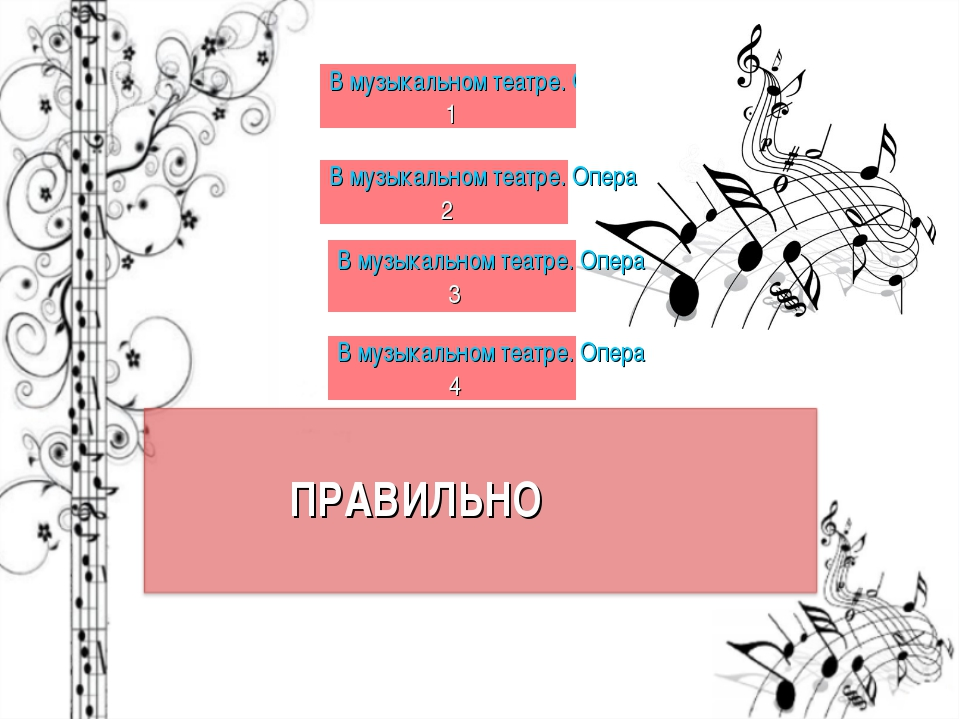 ПРАВИЛЬНО В музыкальном театре. Опера 1 В музыкальном театре. Опера 2 В музык...