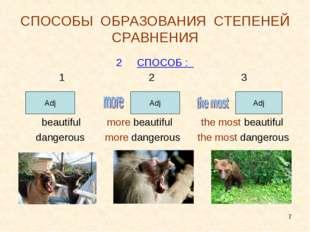* СПОСОБЫ ОБРАЗОВАНИЯ СТЕПЕНЕЙ СРАВНЕНИЯ СПОСОБ : 1 2 3 beautiful more beauti