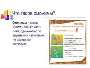 Что такое омонимы? Омонимы – слова одной и той же части речи, одинаковые по з