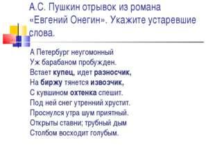 А.С. Пушкин отрывок из романа «Евгений Онегин». Укажите устаревшие слова. А П