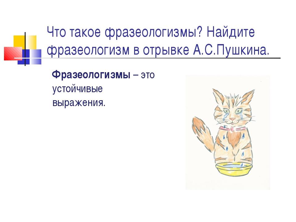 Что такое фразеологизмы? Найдите фразеологизм в отрывке А.С.Пушкина. Фразеоло...