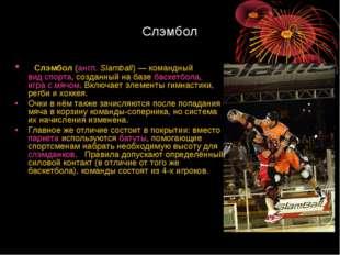 Слэмбол Слэмбол(англ.Slamball)— командныйвид спорта, созданный на базеба
