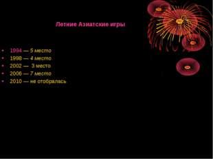 Летние Азиатские игры 1994—5 место 1998—4 место 2002—3 место 2006—7