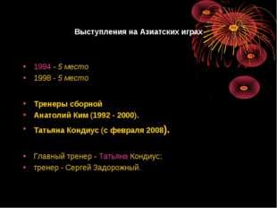 Выступления на Азиатских играх 1994-5 место 1998-5 место Главный тренер -