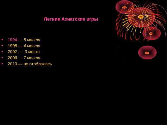 Летние Азиатские игры 1994—5 место 1998—4 место 2002—3 место 2006—7...