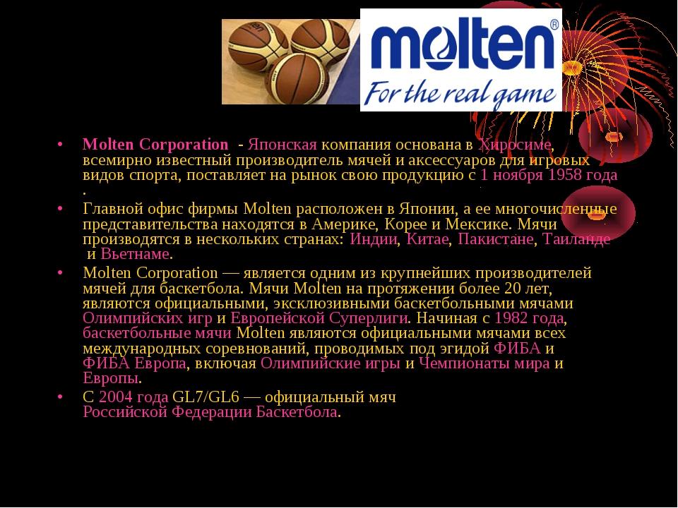 Molten Corporation - Японскаякомпания основана вХиросиме, всемирно известн...