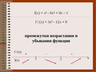 f(x) = x³ - 6x² + 9x – 1 f ´(x) = 3x² - 12x + 9 промежутки возрастания и убыв