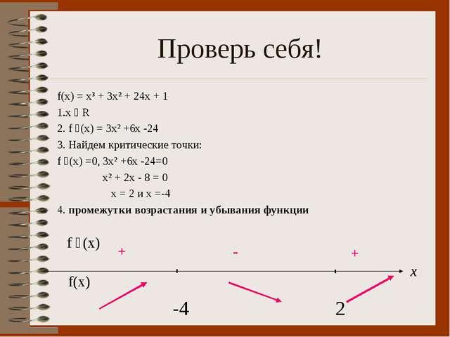 Проверь себя! f(x) = x³ + 3x² + 24x + 1 1.х ϵ R 2. f ´(x) = 3x² +6x -24 3. На...