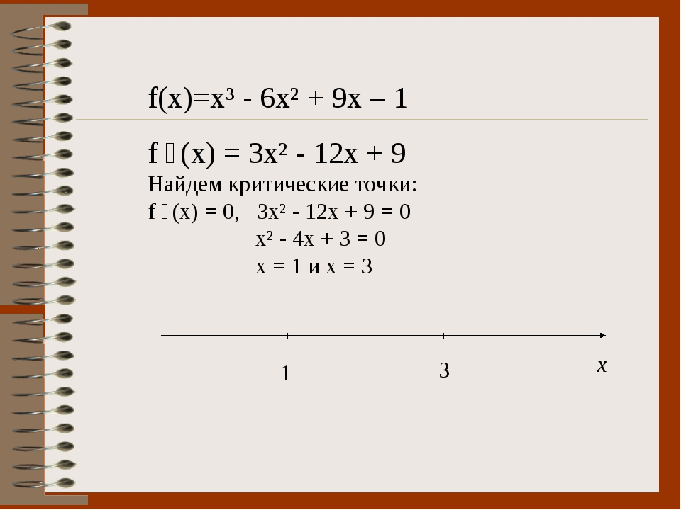 f(x)=x³ - 6x² + 9x – 1 f ´(x) = 3x² - 12x + 9 Найдем критические точки: f ´(x...
