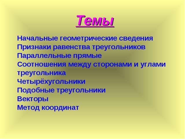 Начальные геометрические сведения Признаки равенства треугольников Параллельн...