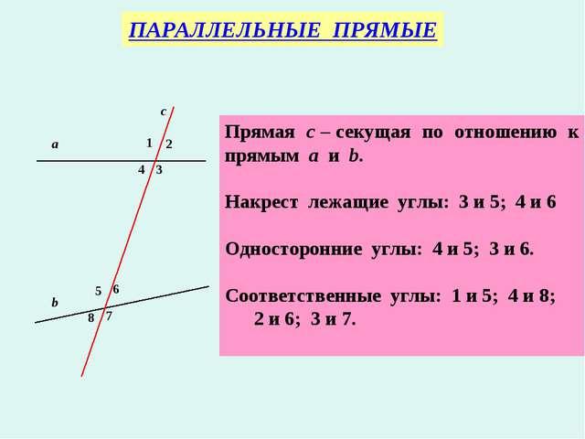 ПАРАЛЛЕЛЬНЫЕ ПРЯМЫЕ Прямая с – секущая по отношению к прямым а и b. Накрест л...