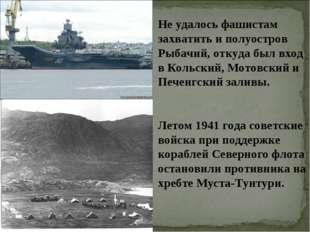 Не удалось фашистам захватить и полуостров Рыбачий, откуда был вход в Кольски