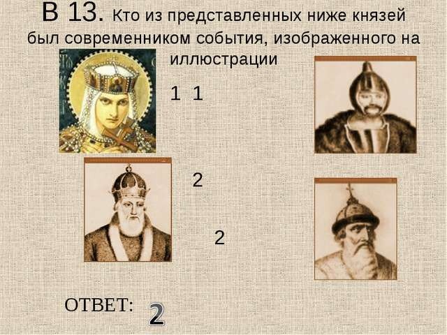 В 13. Кто из представленных ниже князей был современником события, изображенн...