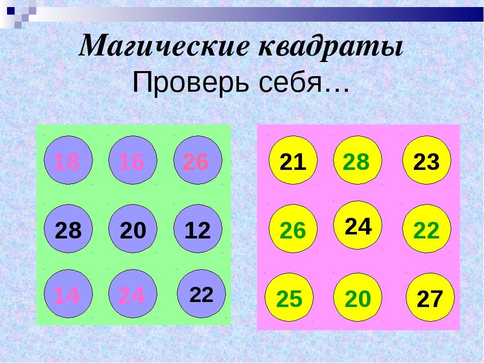 Магические квадраты Проверь себя… 20 12 28 22 21 23 26 24 22 27 20 25 26 18 1...