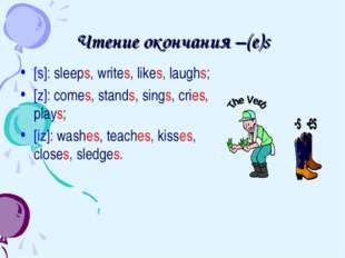Чтение окончания –(e)s [s]: sleeps, writes, likes, laughs; [z]: comes, stands