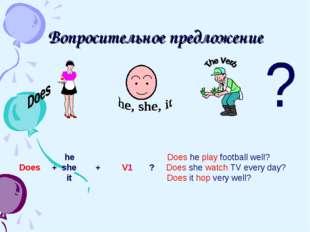 Вопросительное предложение he Does he play football well? Does + she + V1 ? D