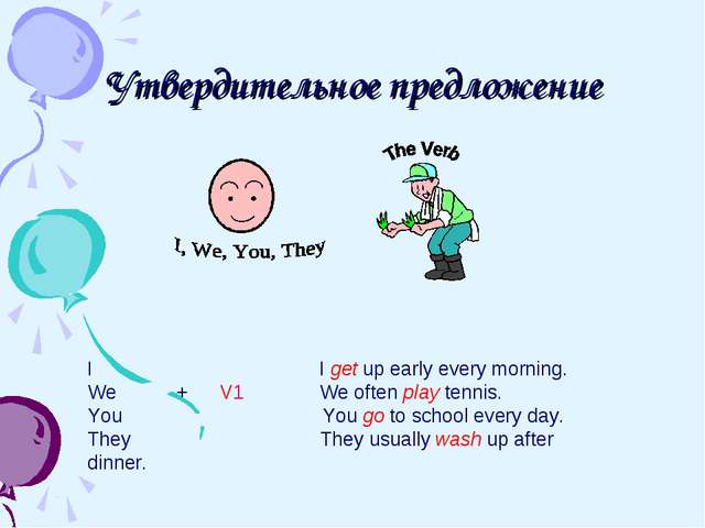 Утвердительное предложение I I get up early every morning. We + V1 We often p...