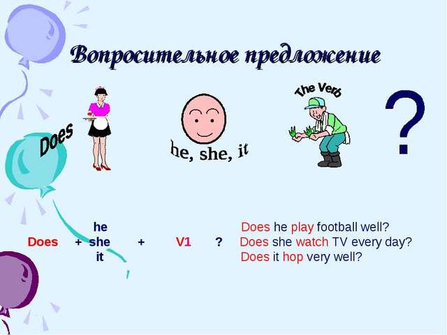 Вопросительное предложение he Does he play football well? Does + she + V1 ? D...