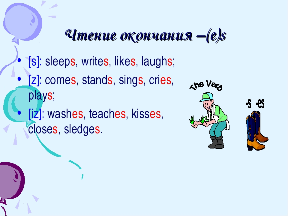 Чтение окончания –(e)s [s]: sleeps, writes, likes, laughs; [z]: comes, stands...